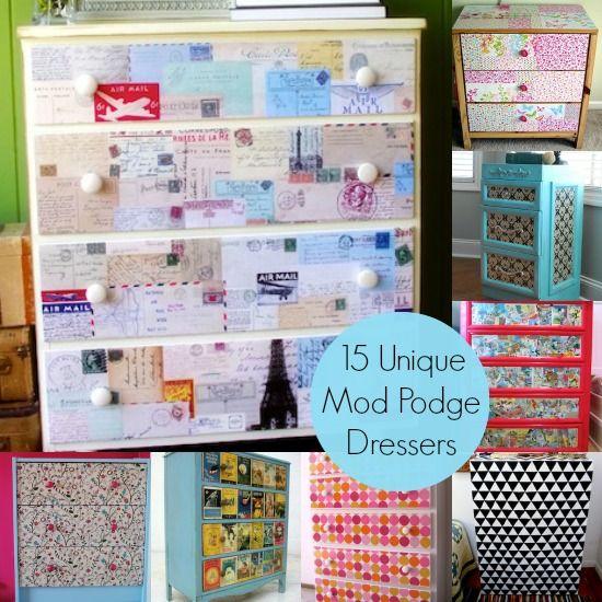 Decoupage a dresser with Mod Podge 15 unique ideas