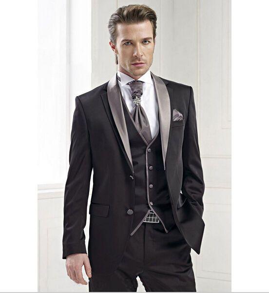 Black Jacket Silver Lapel Groom Tuxedos Groomsmen Bridegroom Best Man Suits P03  | eBay