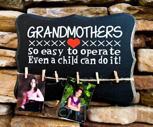Grandmothers gift, mothers day gift, photo display, hand painted wood sign, wall decor, grandma gift, birthday gift, mom gift