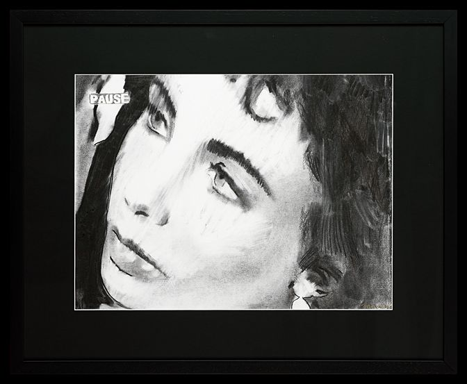 Liz Taylor | Charcoal on Paper | 64 x 79 cm (framed) | £2,950 | This is one of four drawings of Liz Taylor, each a frame apart. She captures Taylor's beautiful vulnerability in these images. They are available and can be purchased as a set or individually.