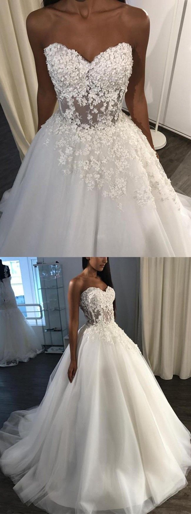 modest sweetheart wedding party dresses with appliques, fashion formal wedding gowns, #wedding
