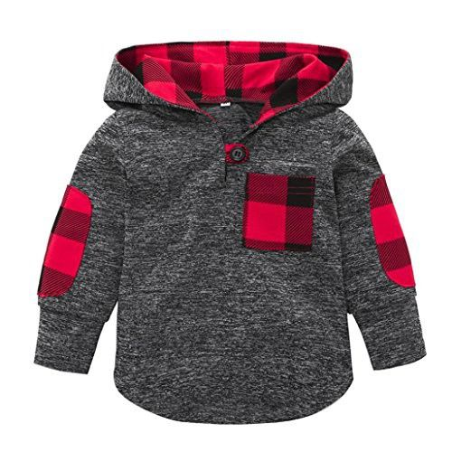 Fineser TM Toddler Baby Girls Boys Plaid Hooded Sweatshirt With Pocket Pullover Tops Casual Warm Clothes (Gray, 3T)