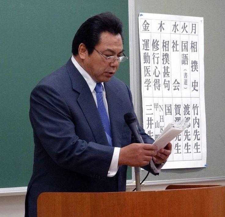 Congratulatory address from Kokonoe-oyakata (former Yokozuna Chiyonofuji)