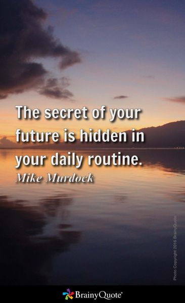 The secret of your future is hidden in your daily routine. - Mike Murdock