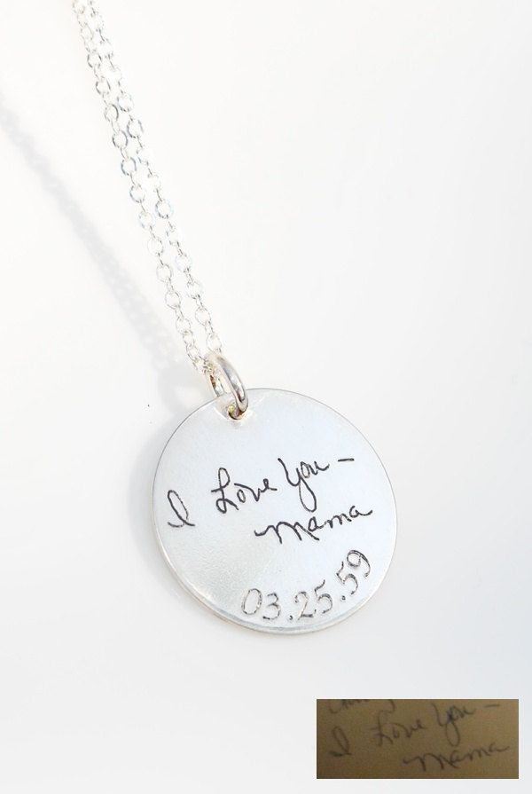 Memorial necklace of a loved one's actual handwriting - Signature - Artwork - personalized pendant in Sterling Silver. $48.00, via Etsy.
