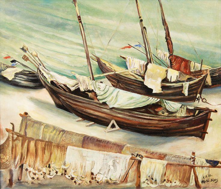 """""""Kurenkähne in Niddenemälde"""", Norddeutsche und Marinemaler Lot-Nr. 148 Hermann Dienz (Koblenz 1891 - Bonn 1980) Kurenkähne in Nidden Öl/Lw., 62,5 x 70,5 cm, r. u. sign. u. dat. Herm Dienz 2.8.36, auf dem Keilrahmen bez. """"Fischerboote a.d. Oststee (Nidden)"""". - Maler u. Holzschneider, Studium an den Akademien in ..."""