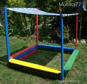 Kerti napellenzős fa HOMOKOZÓ ülőkével-120x120-ÚJ! - 13999 Ft
