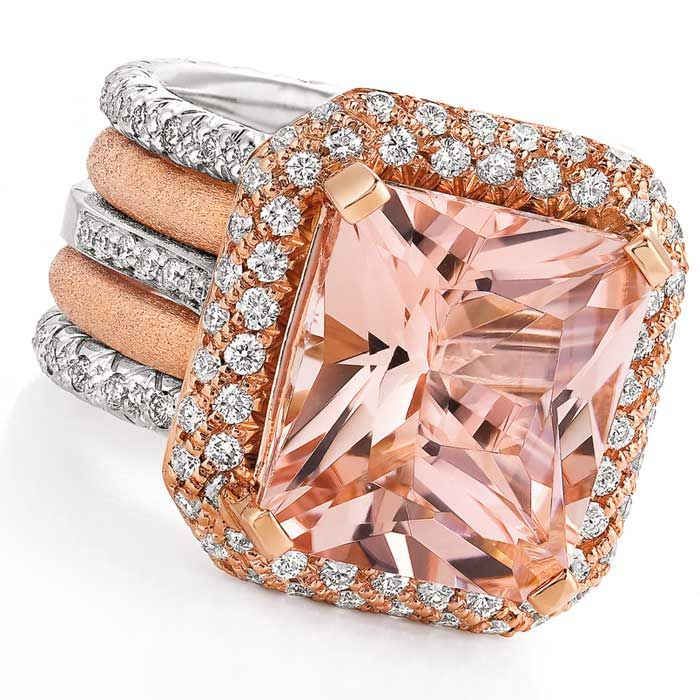 Morganite and diamond ring set in white and pink gold by Makur