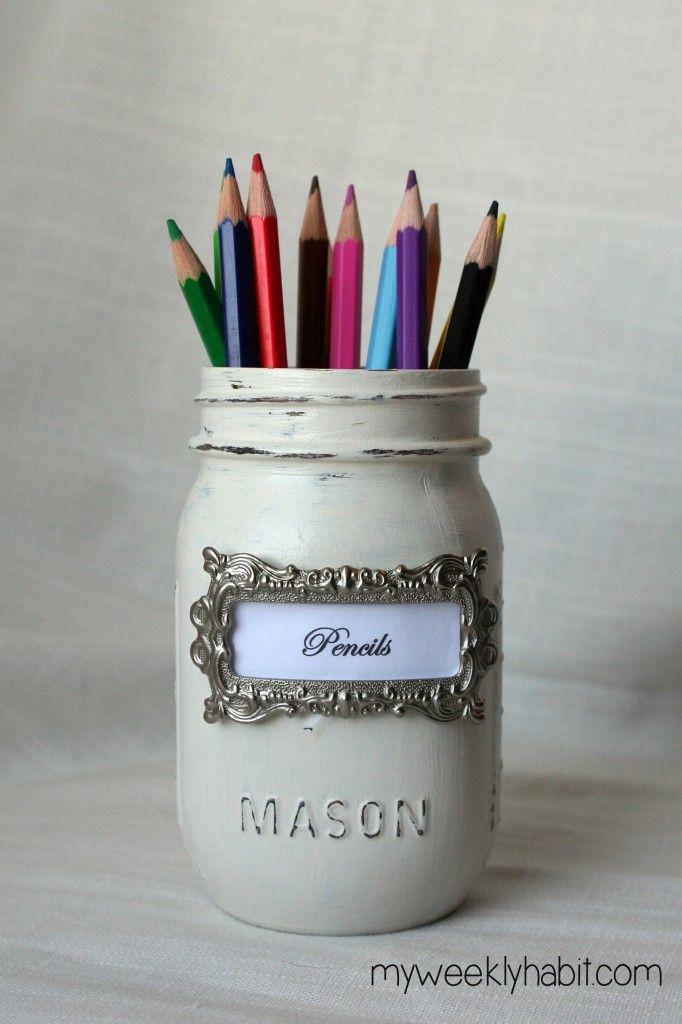 DIY Shabby Chic Mason Jar Desk Set tutorial - love the silver label holders from Joann n hobby lobby