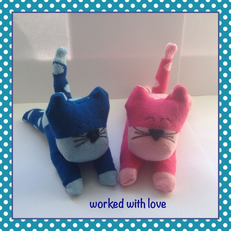 Cute sock kittens made by worked with love. £6 each and £3 p+p