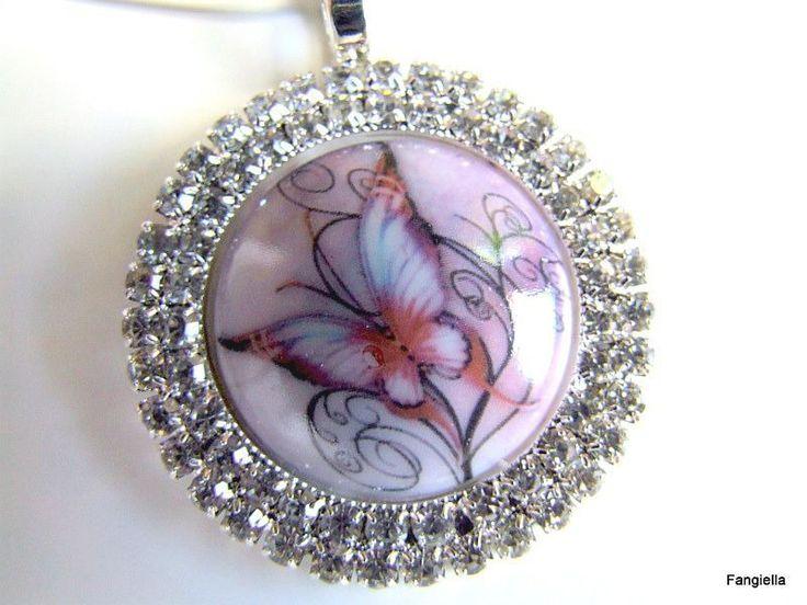 Collier papillon porcelaine sur support strass argenté fils cable à vis noir