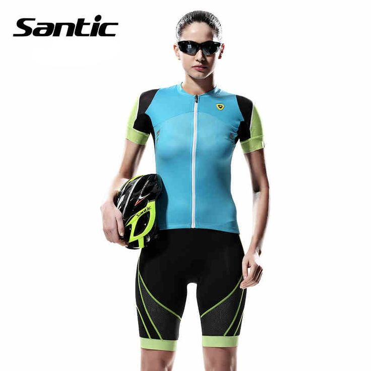 (48.52$)  Watch more here - http://ai8pb.worlditems.win/all/product.php?id=32756817212 - Santic Cycling Jerseys With Shorts Padded Gel Cycling Suit Short Sleeve Sets Women Summer Cycling Jersey Sets Bike L5CT048B