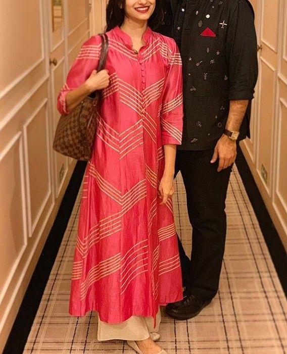 0dc8faf86d5a1 Beautiful Silk kalidaar Kurti with gota patti embellishments ...