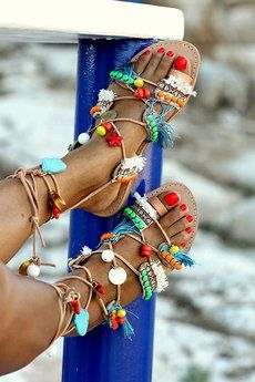 Gladiator Sandals, These could be DIYed with plain sandals and pom poms