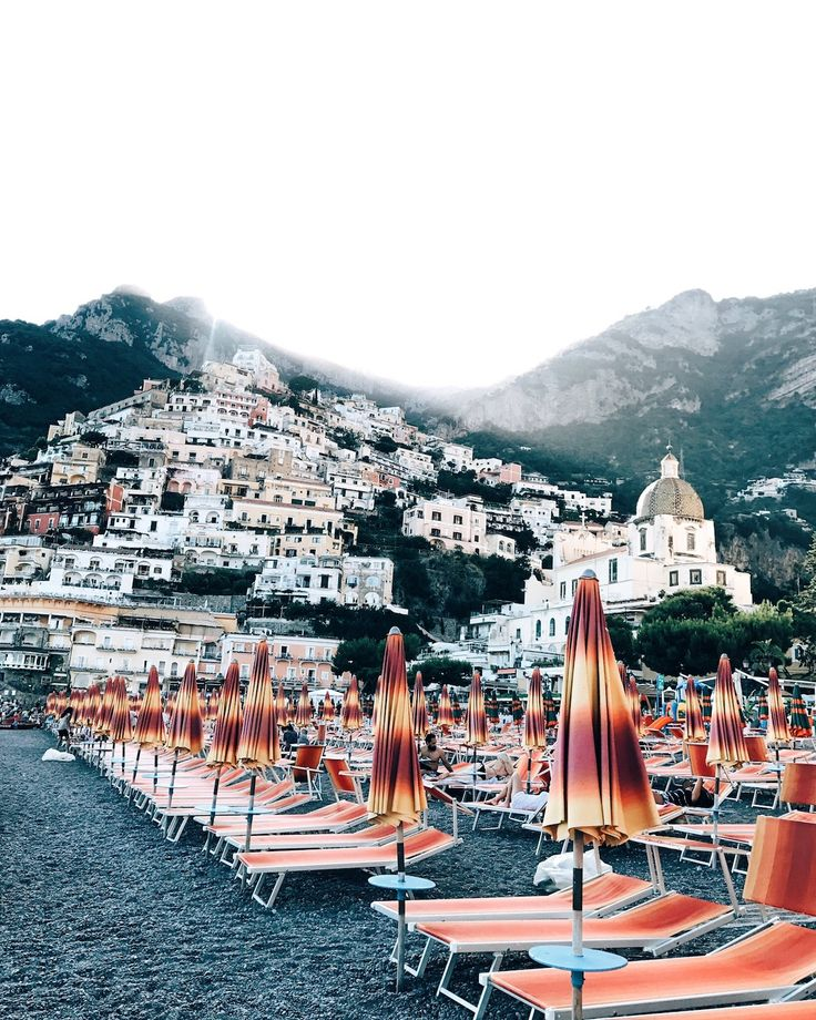 Positano Beach Orange Beach Chairs and Umbrellas, Amalfi Coast