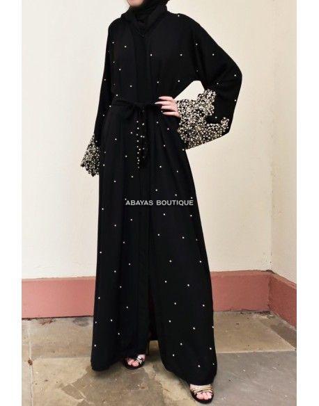 6f0ac4959b486 Bonita Black Pearl & Lace Open Abaya in 2019 | AdOraBle | Black ...