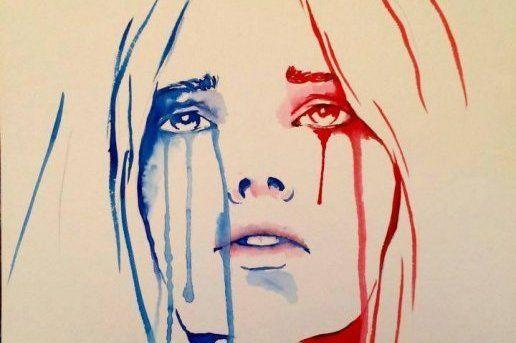 Les larmes de Marianne aux lendemains des attentats du 13 novembre 2015 à Paris. Dessin de Benjamin Regnier.