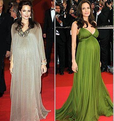 İki ünlünün hamile iken giydiği iki abiye modeli