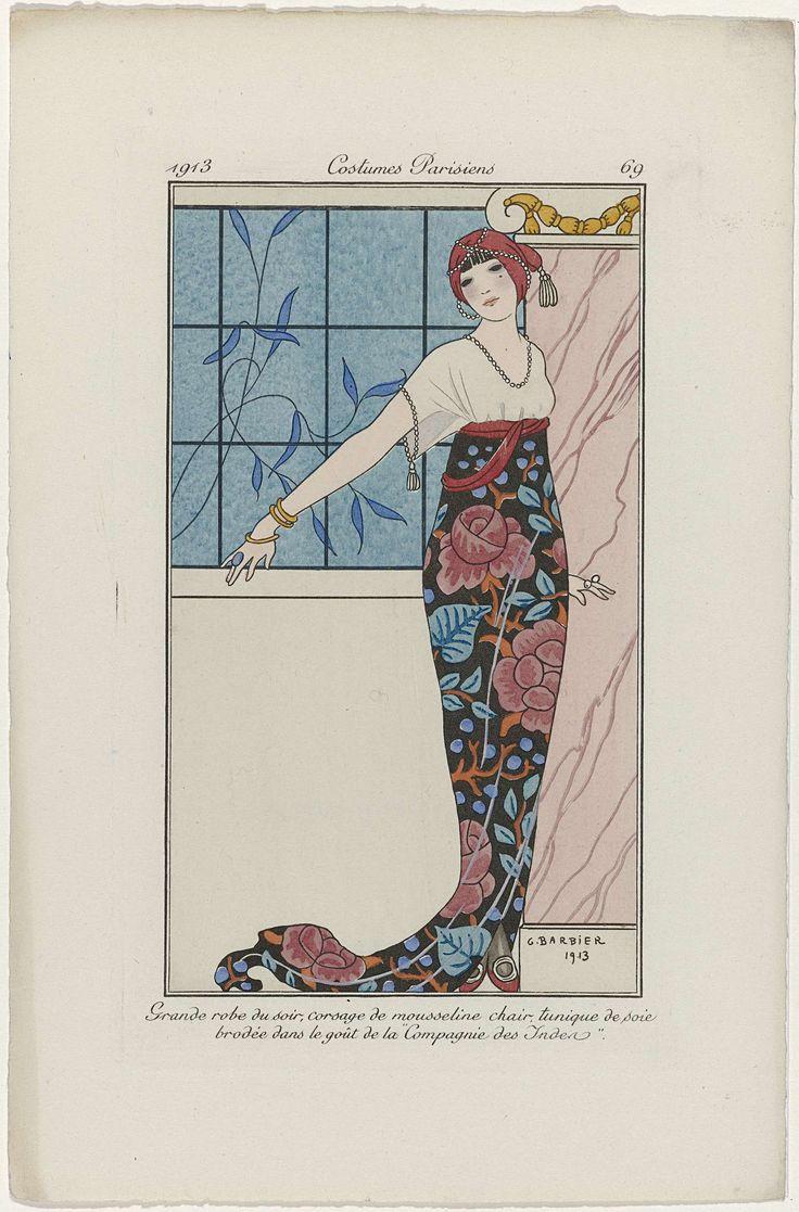 "Anonymous | Journal des Dames et des Modes, Costumes Parisiens, 1913, No. 69 : Grande robe du soir,..., Anonymous, 1913 | 'Grande robe du soir' :  avondjurk met een lijfje van 'mousseline chair' en een tuniek van geborduurde zijde in de stijl van de ""Compagnie des Indes"". Tulband. Prent uit het modetijdschrift Journal des Dames et des Modes (1912-1914)."