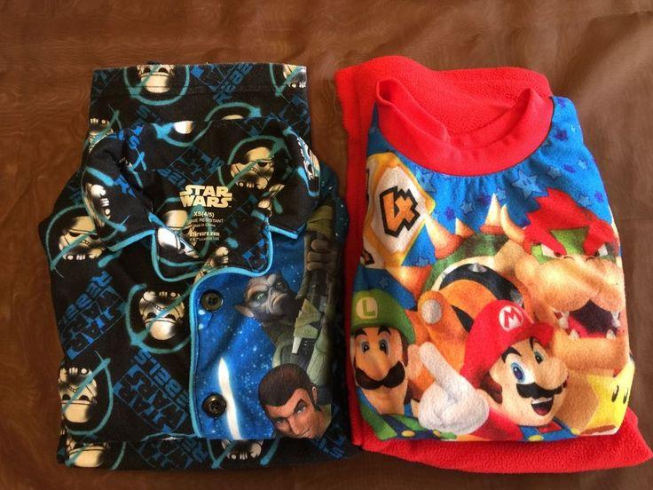 2 Sets Of Boy's Long Sleeve Shirt Pants Pajamas Star Wars Mario Party 9 #TwoPiece