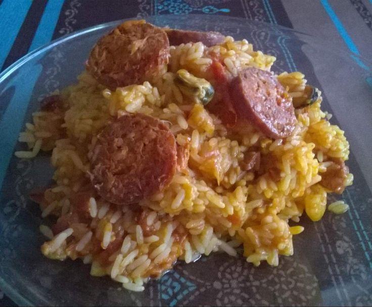 Recette riz facon paella par guiline - recette de la catégorie Pâtes & Riz