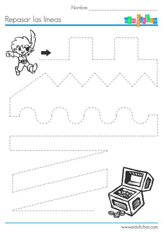 Grafomotricidad para #preescolar.  www.edufichas.com