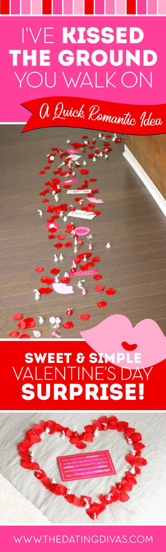 Kissed the Ground You Walk On Valentine's Day Surprise #romanticvalentines #vdayidea Fun V-day surprise idea from The Dating Divas #thedatingdivas