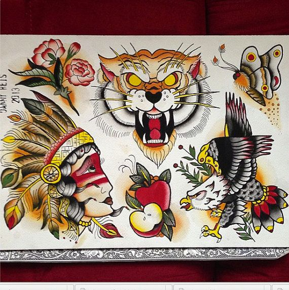 Hand painted traditional tattoo flash tattoos for Traditional tattoo flash