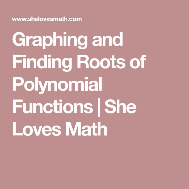 Graphing and Finding Roots of Polynomial Functions | She Loves Math
