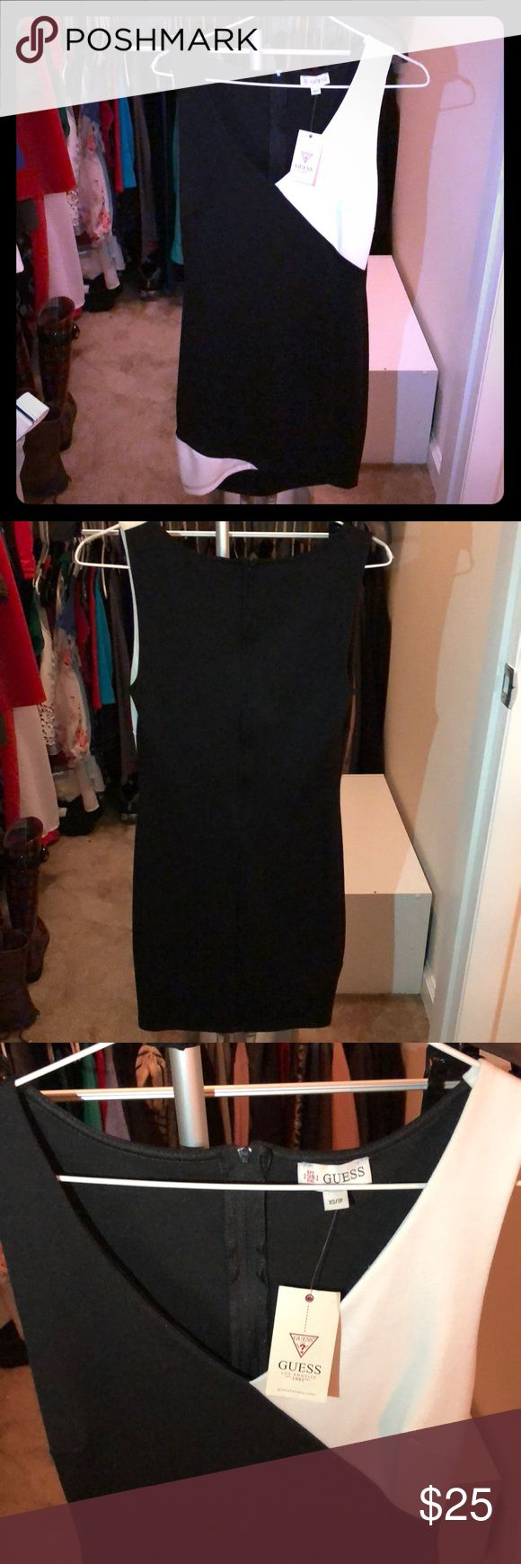Guess Dress in Perfect condition Never been worn Guess dress. Could be business casual or perfect for a date night!  75% Polyester 22% Rayon 3% Spandex Guess Dresses