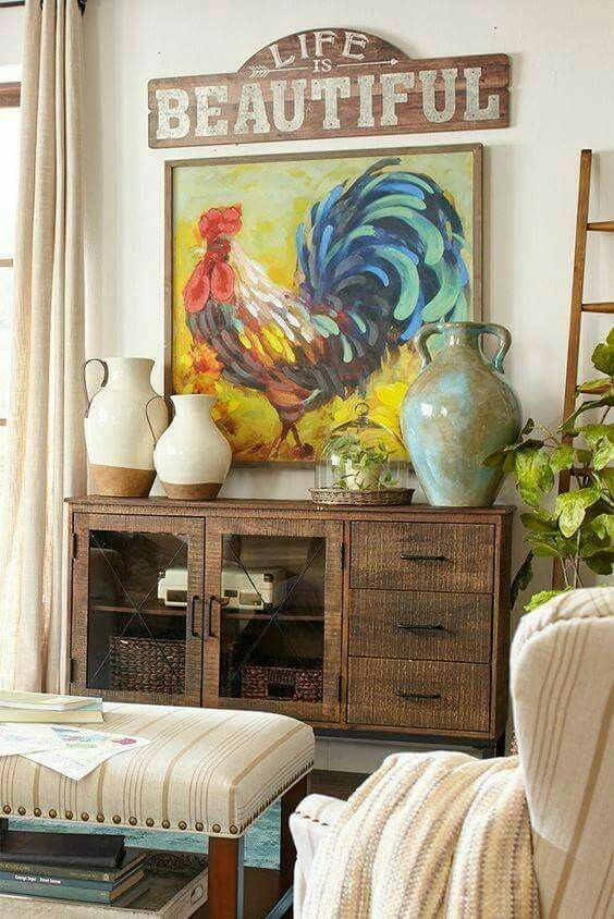 """40 Rustic Living Room Ideas To Fashion Your Revamp Around: LOVE This Rooster And """"Life Is Beautiful"""""""