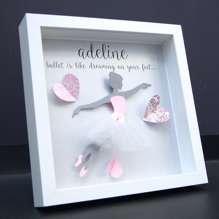 Personalized Name Paper Art Shadowbox Frame with Paper Ballerina with Tutu Skirt Newborn Baby Girl Shower Gift Nursery Decor Wall Art by paintandpapercraft on Etsy