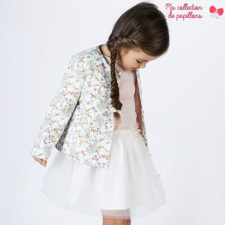 Sergent Major vous propose cette veste fille blanc pour les 2 à 11 ans du theme Ma collection de papillons de la collection Ete