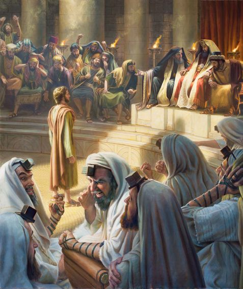 """Stephen remains calm while being judged in the Sanhedrin. Acts 6:11-15 Wealthy Sadducees are in the background, and ultraorthodox Pharisees, in the foreground. """"At hearing these things they felt cut to their hearts and began to gnash their teeth at him.""""—Acts 7:54"""