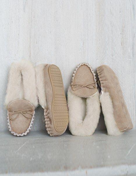 Lounger Moccasins - Hard Sole   Ladies Sheepskin Slippers