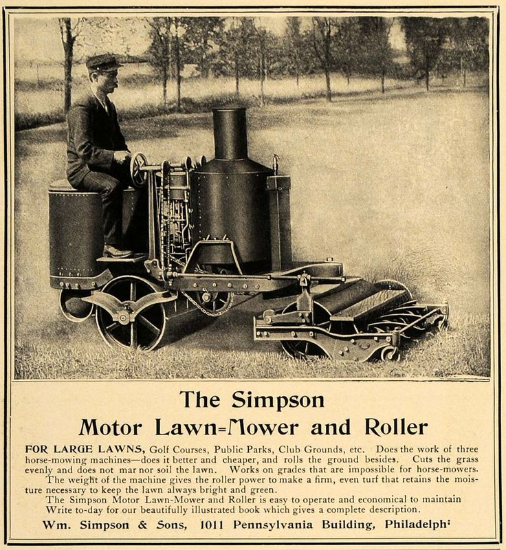 1906 Ad Antique Simpson Motor Lawn Mower Roller Riding - ORIGINAL ...
