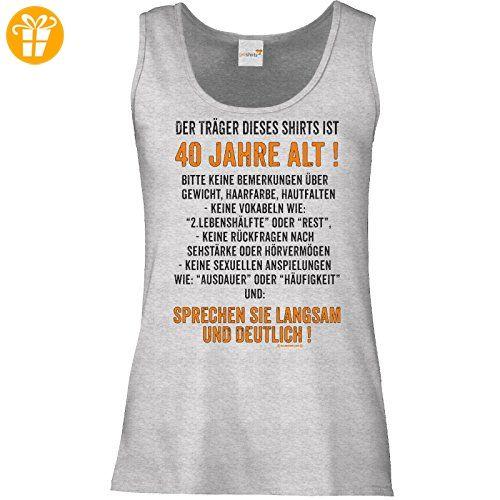 getshirts - RAHMENLOS® Geschenke - Tank Top Damen - Traeger dieses Shirts ist 40 jahre alt - sprechen sie langsam - graumeliert XXL (*Partner-Link)