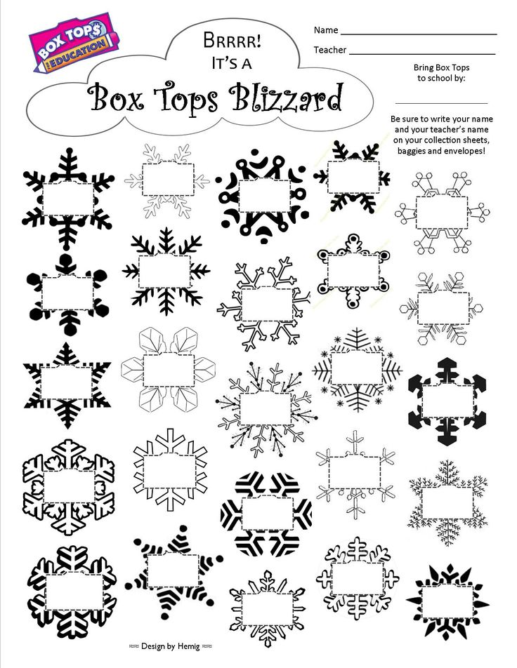 "Box Tops Collection Sheet -- ""It's a Box Tops Blizzard"" -- Great for winter, snowflakes snow 25ct #boxtops #btfe"