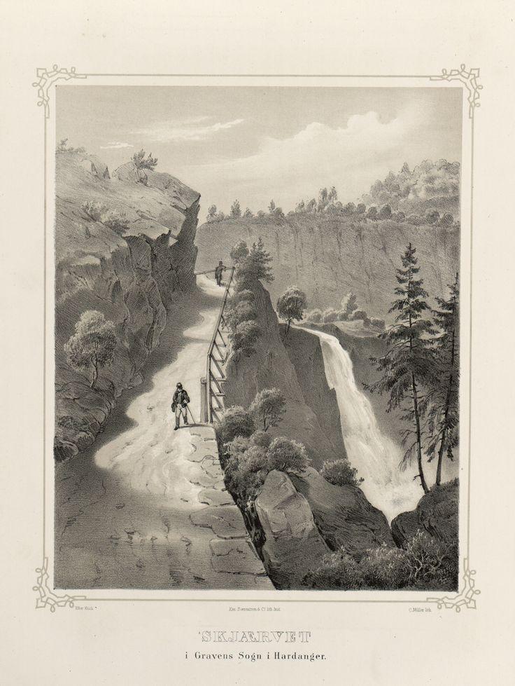 Norge fremstillet i Tegninger - Joachim Frich - Skjærvet i Gravens Sogn i Hardanger.  jpg (3680×4896)