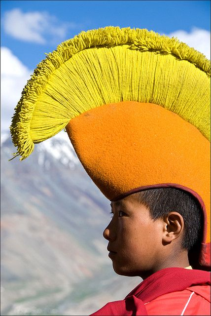 """Gelugpa monk, India - """"The Gelug tradition, also known as the Yellow Hat school , is the newest of the four major schools of Tibetan Buddhism."""""""