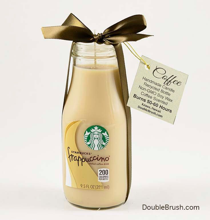 Coffee Candle from Recycled Starbucks Frappuccino Bottle