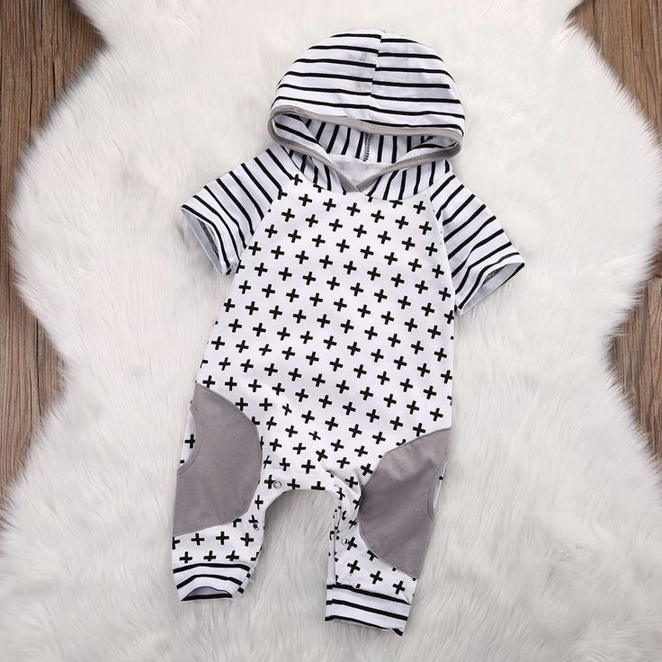 Hooded Stripped Baby Romper. This hooded romper is perfect for the chilly weather. Styish and comfortable! Be sure to visit us at www.destination-baby.com for all things baby, child and mom! Free Shipping! #babyclothes #babyboy #genderneutralbabyclothes