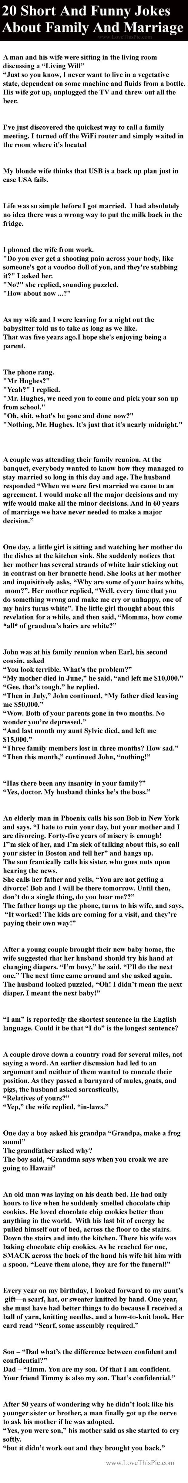 20 Short And Funny Jokes About Family And Marriage funny family jokes story lol…