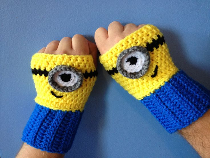 Despicable Me Minion Fingerless Gloves Crochet by MonAmiCreationz, $32.00