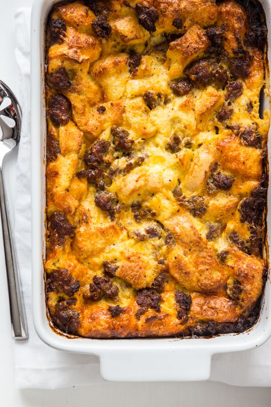 This simple overnight sausage egg souffle is the perfect brunch recipe full of Italian sausage, eggs and cheese.