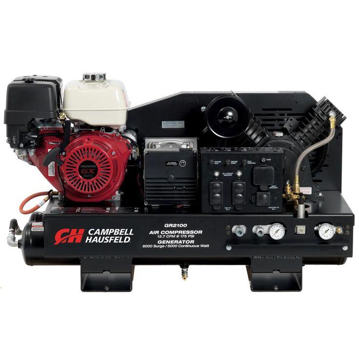 Air Compressor/Welder Combination Unit, 10 Gal. Stationary Gas Honda GX390 Engine/ 5000W Generator (GR2100)