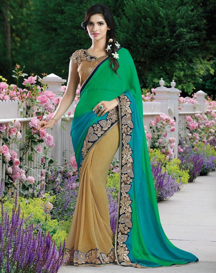 Envelope yourself in the brilliance of bright yellow and lush green saree paired with a gorgeous one shoulder embroidered blouse and look radiant.