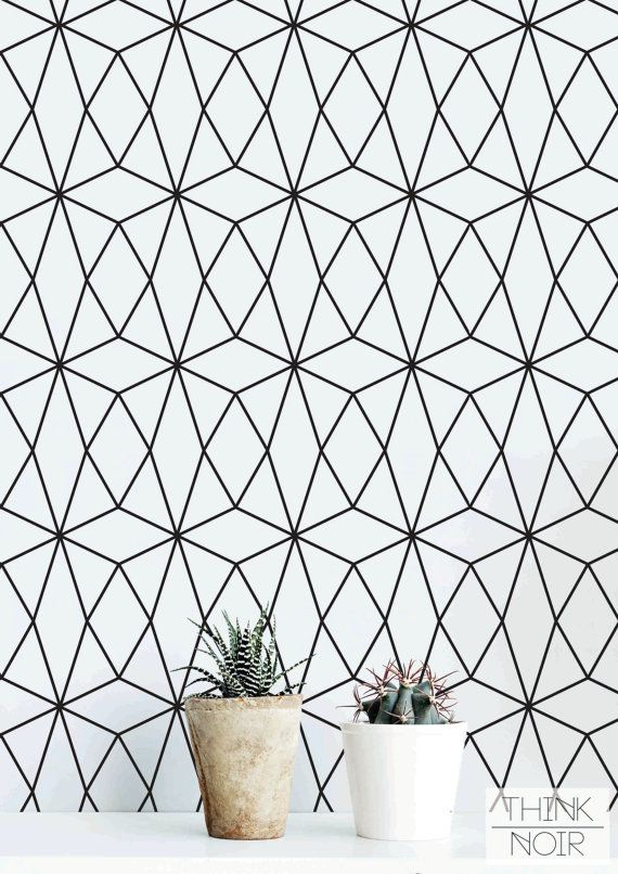 Geometric Pattern Self Adhesive Wallpaper / Black and by ThinkNoir