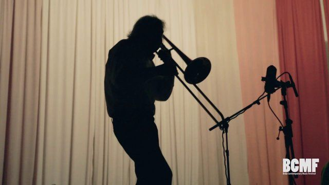 Brda Contemporary Music Festival   14. – 15. September 2012, Medana, Slovenia  Johannes Bauer - trombone    Zlatko Kaučič- drums, precussion  Title: BCMF/Johannes Bauer, Zlatko Kaučič  Duration: 10min 29sec Technique: HD video Aspect Ratio: 16:9 Colour: Col Audio: stereo 2.0  Camera: Valeria Cozzarini Audio Recording: Iztok Zupan Editing: Atej Tutta  2012