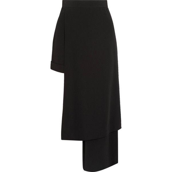 Balmain Balmain - Asymmetric Crepe-satin Pants - Black ($2,255) ❤ liked on Polyvore featuring pants, tribal print trousers, crepe pants, draped pants, balmain and satin trousers